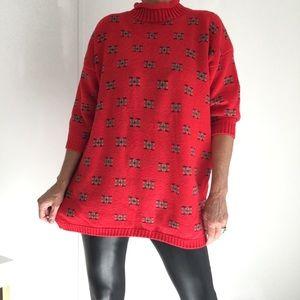 Lipstick Red Oversized Sweater